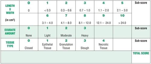 Pressure Ulcer Scale for Healing tool volgens NPUAP.